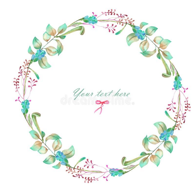 Cirkelkader, kroon van waterverf bloemenelementen royalty-vrije illustratie