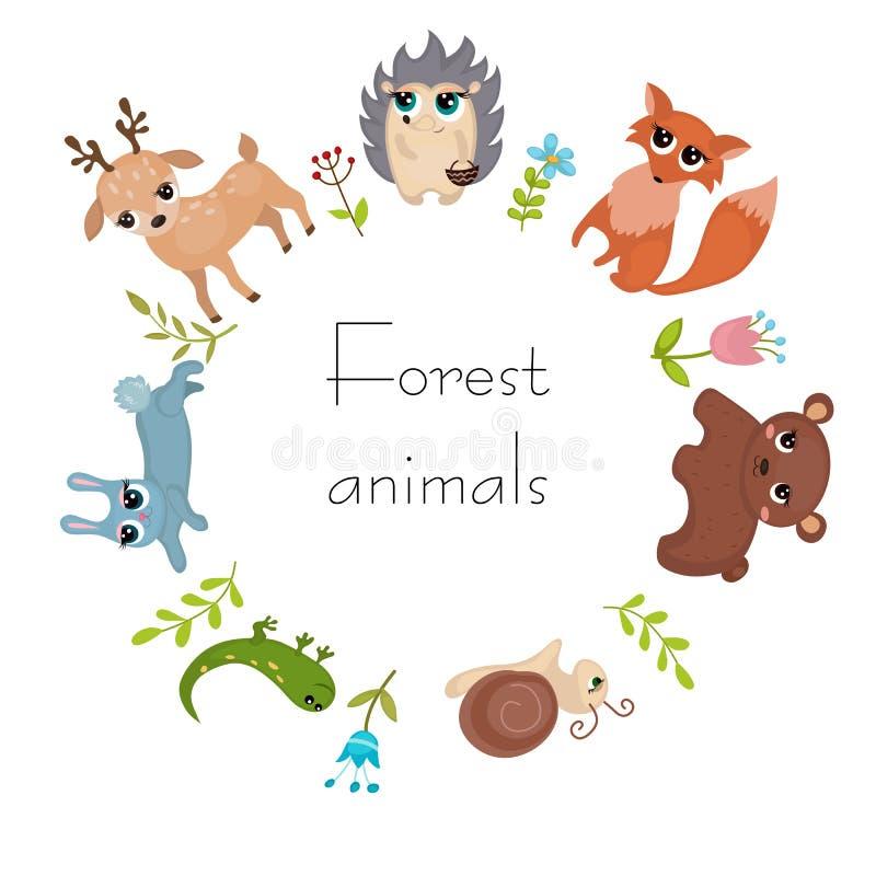 Cirkelkader met bosdieren stock illustratie