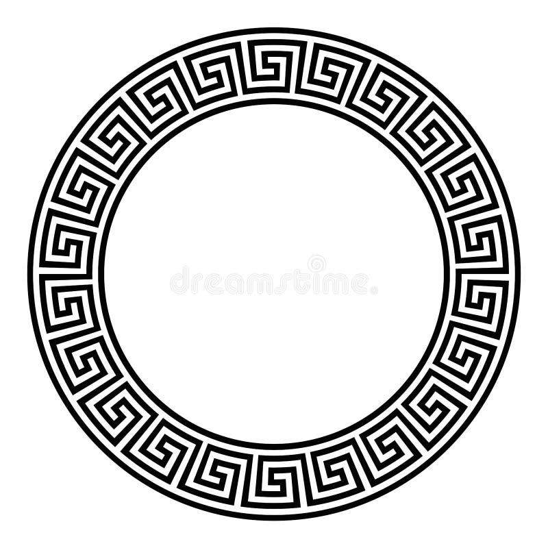 Cirkelkader met naadloos meanderpatroon royalty-vrije illustratie