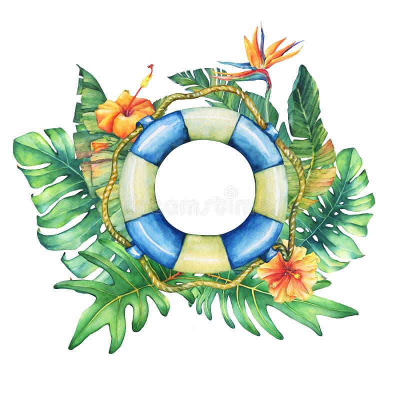 Cirkelkader met reddingsboei, bloemen en tropische installaties royalty-vrije illustratie