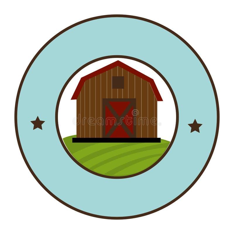 Cirkelkader met schuur van twee vloeren stock illustratie