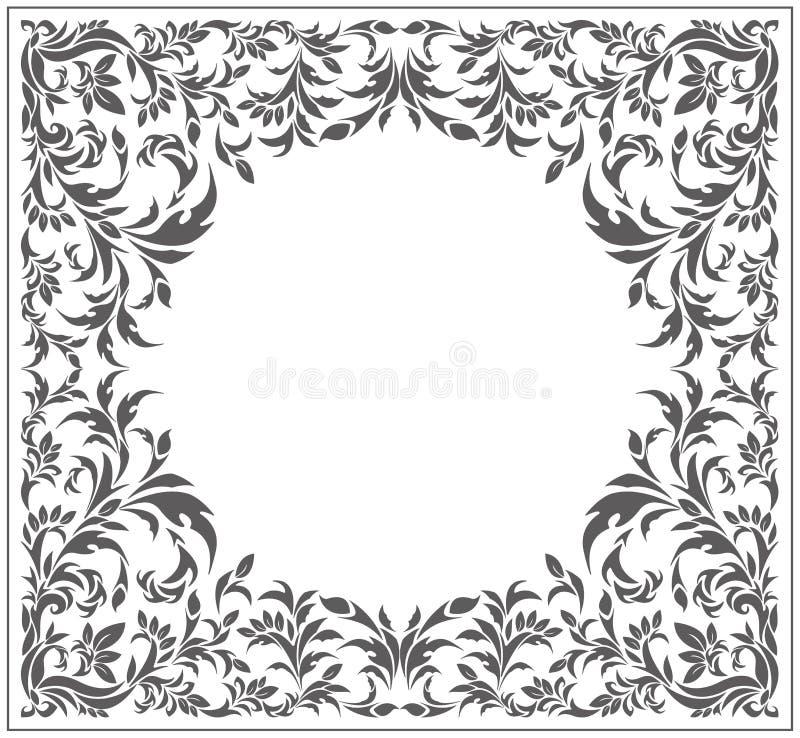 Cirkelkader met uitstekend, bloemenornament royalty-vrije illustratie