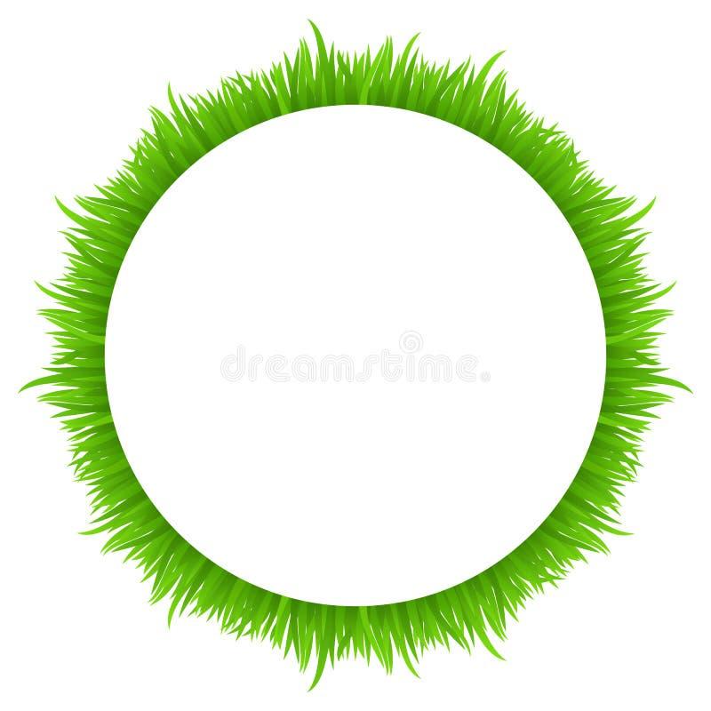 Cirkelkader van gras op wit wordt gemaakt dat De verse lente, grens van het de zomer de groene gras voor uw ontwerp royalty-vrije illustratie