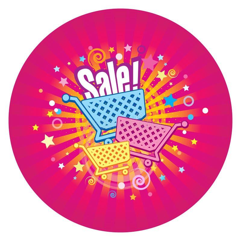Cirkelklistermärke av Sale Supermarketspårvagnar på den dekorativa bakgrunden med strålar, stjärnor och konfettier stock illustrationer