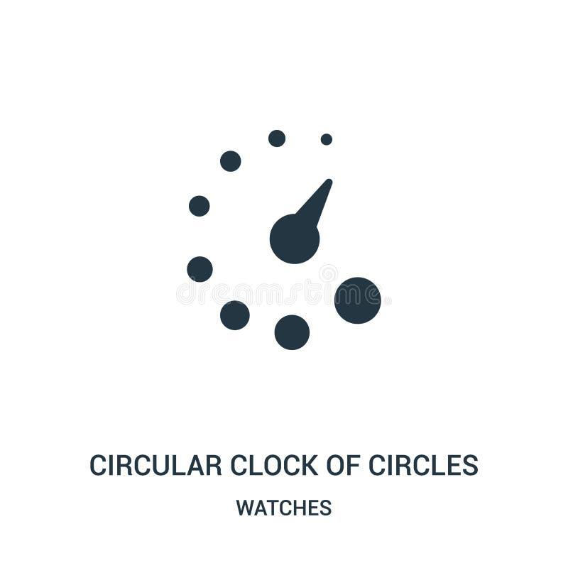 cirkelklok van de vector van het cirkelspictogram van horlogesinzameling Dunne lijn cirkelklok van het pictogramvector van het ci royalty-vrije illustratie