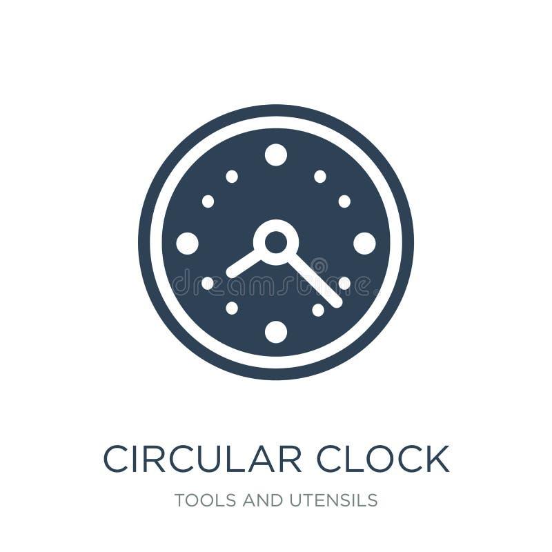 cirkelklokpictogram in in ontwerpstijl Cirkeldieklokpictogram op witte achtergrond wordt geïsoleerd cirkel eenvoudig klok vectorp royalty-vrije illustratie