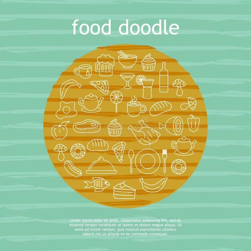 Cirkelklotter av bakgrund för illustration för mat- och dryckteckningsvektor royaltyfri illustrationer