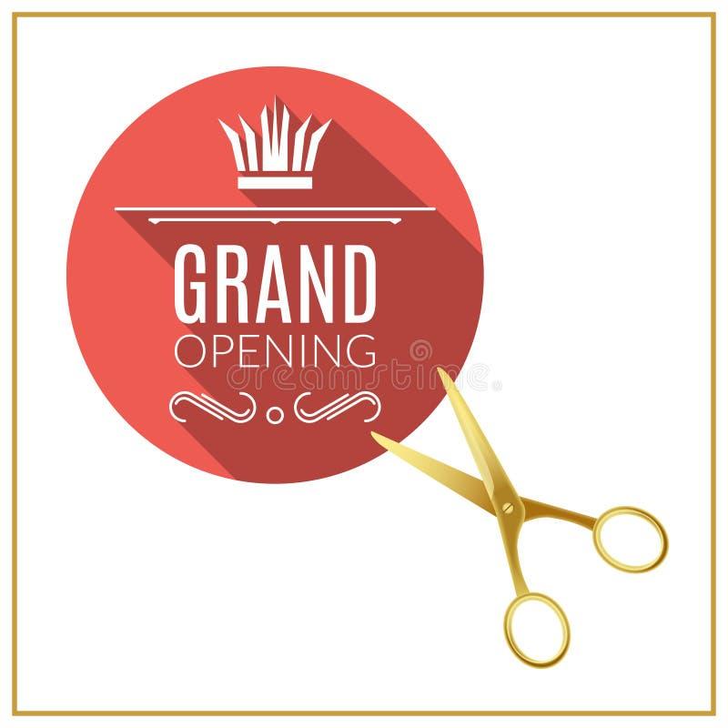 Cirkelknapp för storslagen öppning med guld- sax För designbeståndsdelar för storslagen öppning mall royaltyfri illustrationer