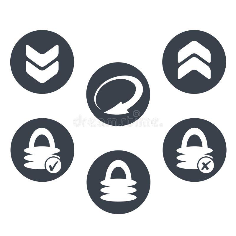 Cirkelknopen met symbool van pijl en hangslot - het teken van download, herladen, uploadt en veiligheid stock illustratie