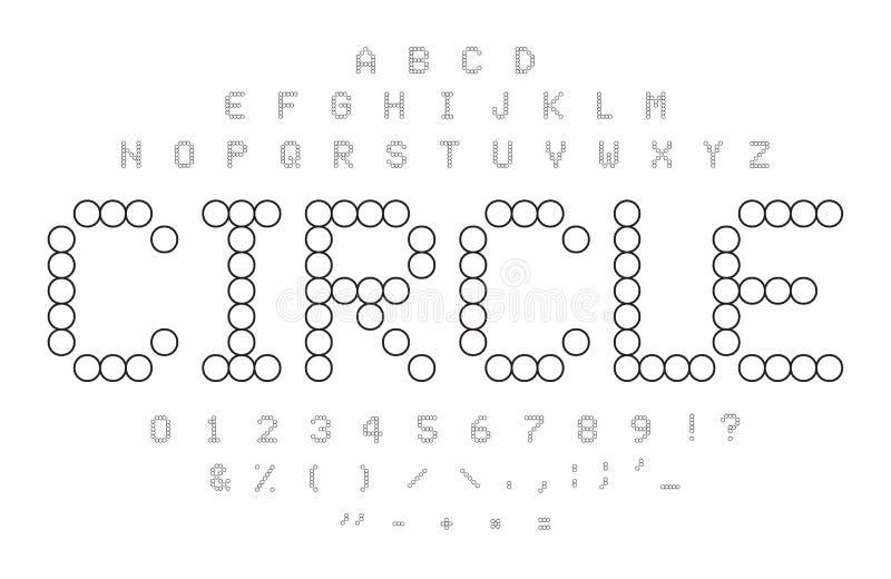 Cirkelkonturalfabet Svartvita enkla prickiga bokstäver, nummer och symboluppsättning Form för mosaiska tegelplattor cirkel stock illustrationer