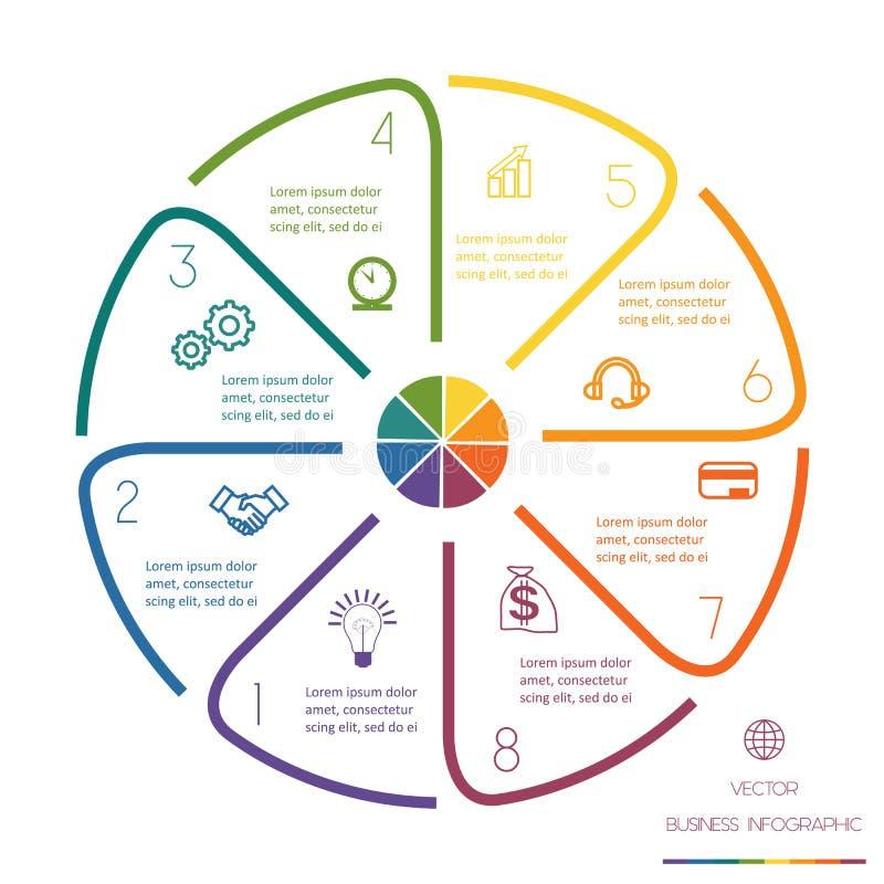 Cirkellijnen Infographic Acht Posities royalty-vrije illustratie