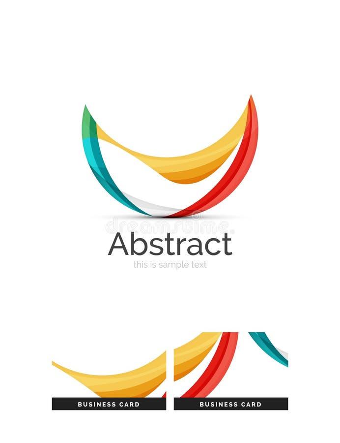 Cirkellogo Genomskinliga överlappande virvelformer Modern ren affärssymbol royaltyfri illustrationer