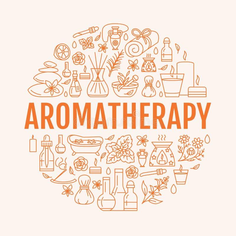 Cirkelmall för Aromatherapy och för nödvändiga oljor Vektorlinje illustration av aromatherapydiffusorn, olje- gasbrännare, brunns stock illustrationer