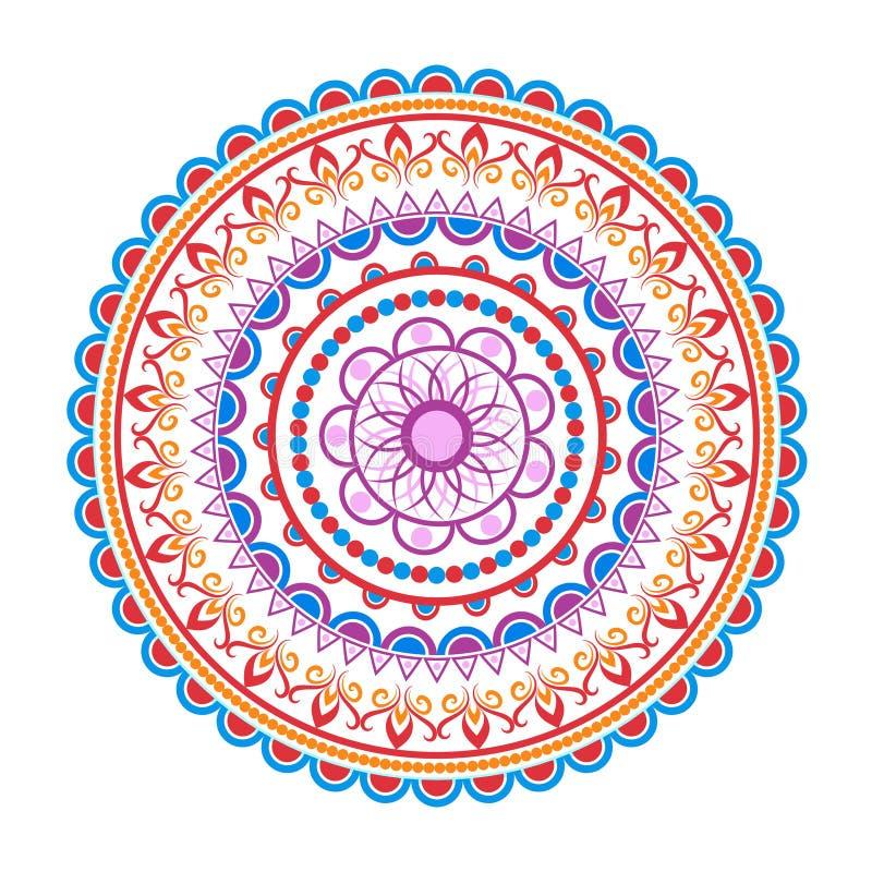 Cirkelmandalamodell rund dekorativ prydnad Yogalogo, bakgrund för meditationaffisch royaltyfri illustrationer