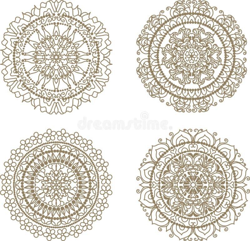 Cirkelmandalapatroon van traditionele motieven royalty-vrije illustratie