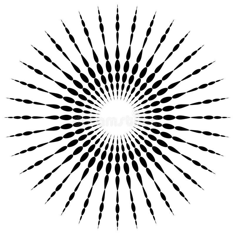 Cirkelmotiefelement Radiale gestippelde lijnen met onregelmatige profi vector illustratie