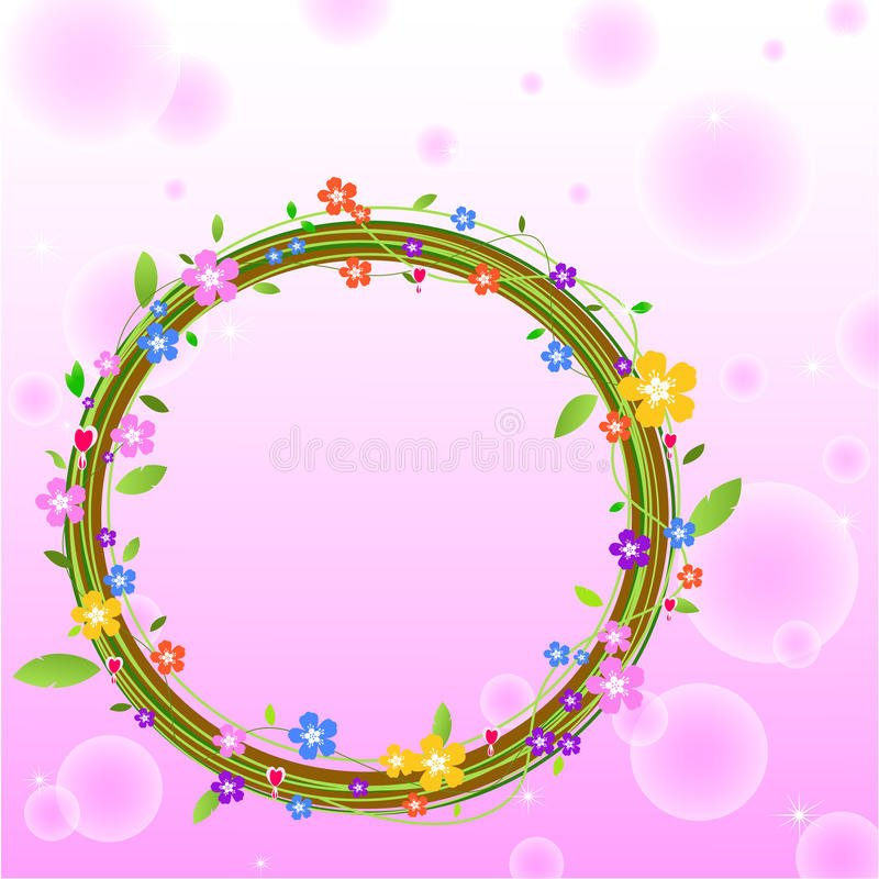 Cirkeln av blomman på rosa bakgrund vektor illustrationer