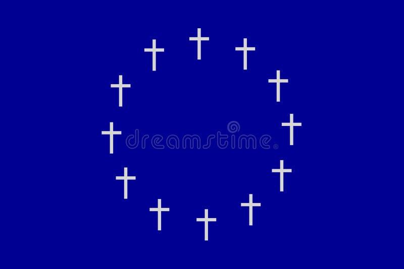 Cirkeln av tolv kors på rektangulär horisontalyttersida för grå färgblått royaltyfri illustrationer