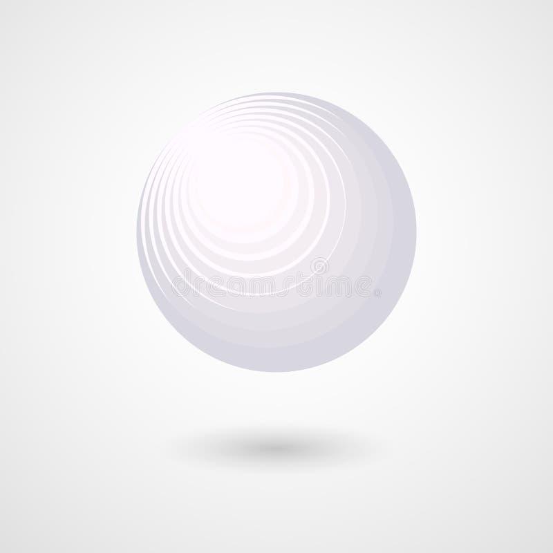 Cirkeln för boll för sfär 3D för tredimensionell vit abstrakt designbeståndsdel för sfär den dekorativa futuristiska i utrymme et vektor illustrationer