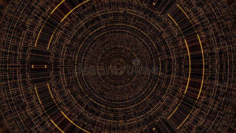 Cirkeln med rastret, abstrakt affärsvetenskap eller datateknikbakgrund, 3d framför bakgrunden, den frambragda datoren royaltyfri illustrationer