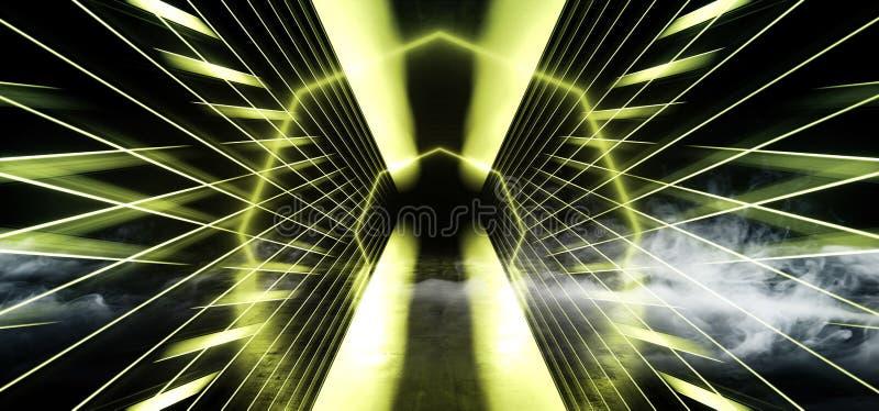 Cirkeln psykedeliska Sci Fi röker vibrerande för grönt konkret hall för Grunge för framtida mörk korridor för neonlaser-rymdskepp vektor illustrationer