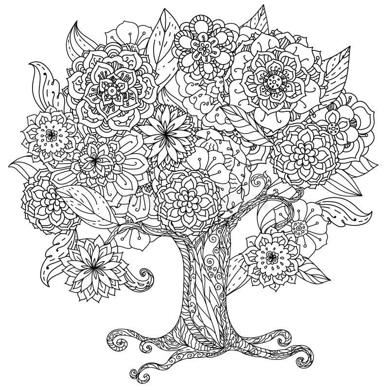 CirkelOrient blom- svartvitt royaltyfri illustrationer