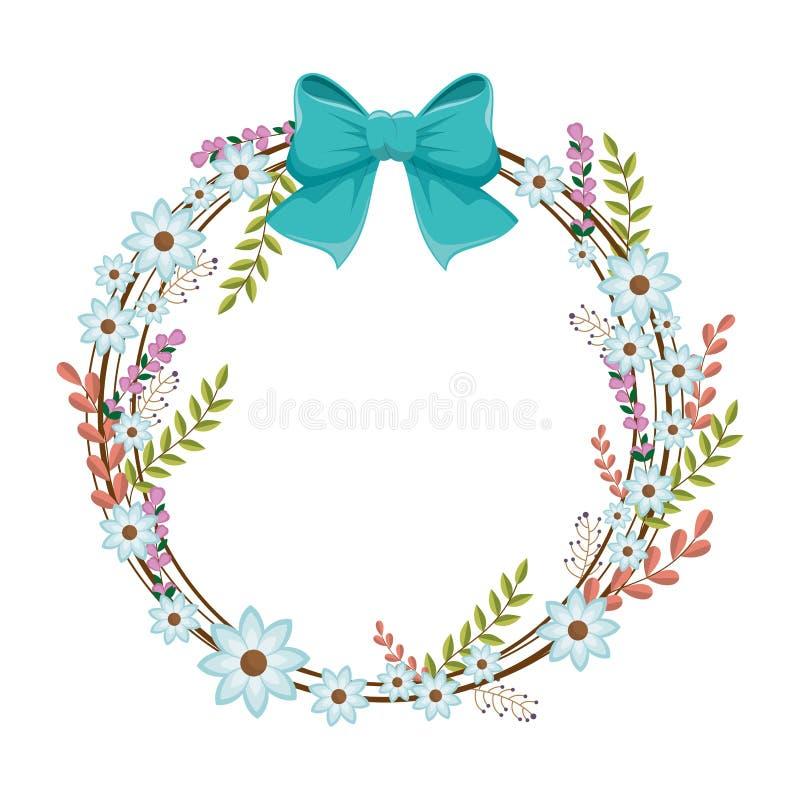 Cirkelornament met blauw bloemen en lint royalty-vrije illustratie