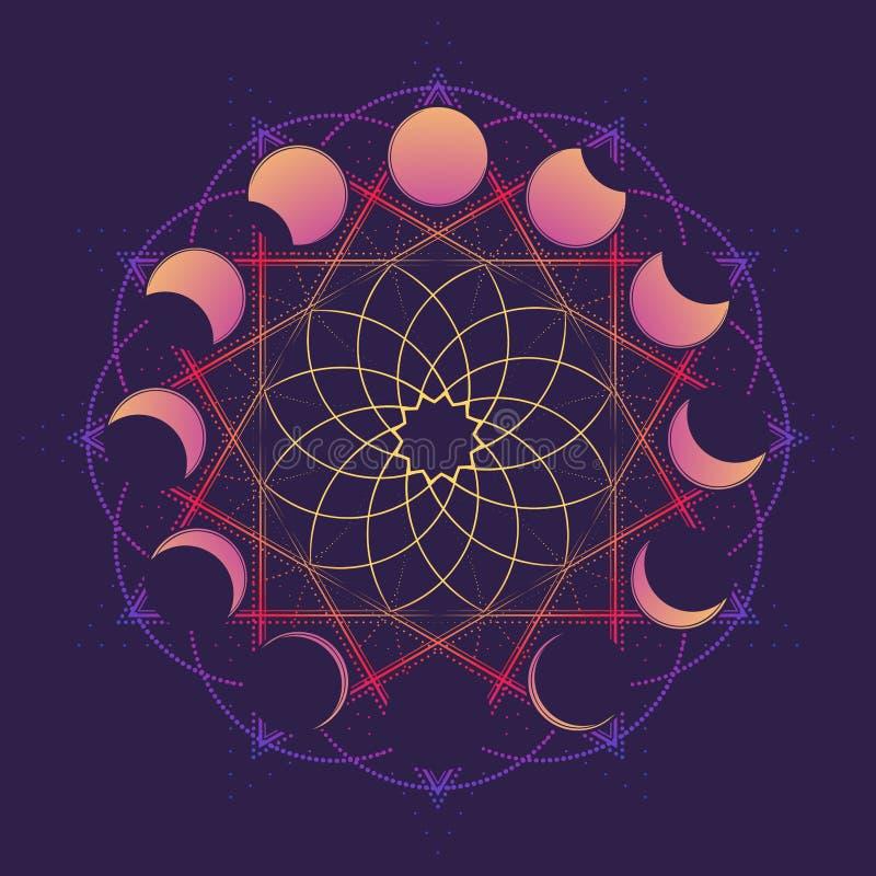 Cirkelornament met maan in verschillende fasen Viccansymbool van een witte godin Lijntekening op diep wordt geïsoleerd die royalty-vrije illustratie