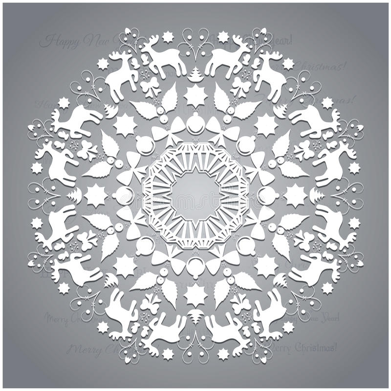 Cirkelornament, rond sier geometrisch patroon, de decoratie van de Kerstmissneeuwvlok vector illustratie