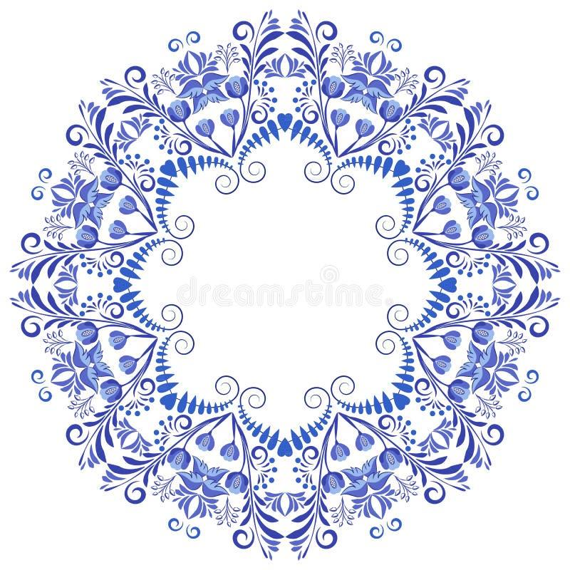 Cirkelornamentkader Bloemenpatroon in de stijl van het nationale porselein schilderen stock illustratie