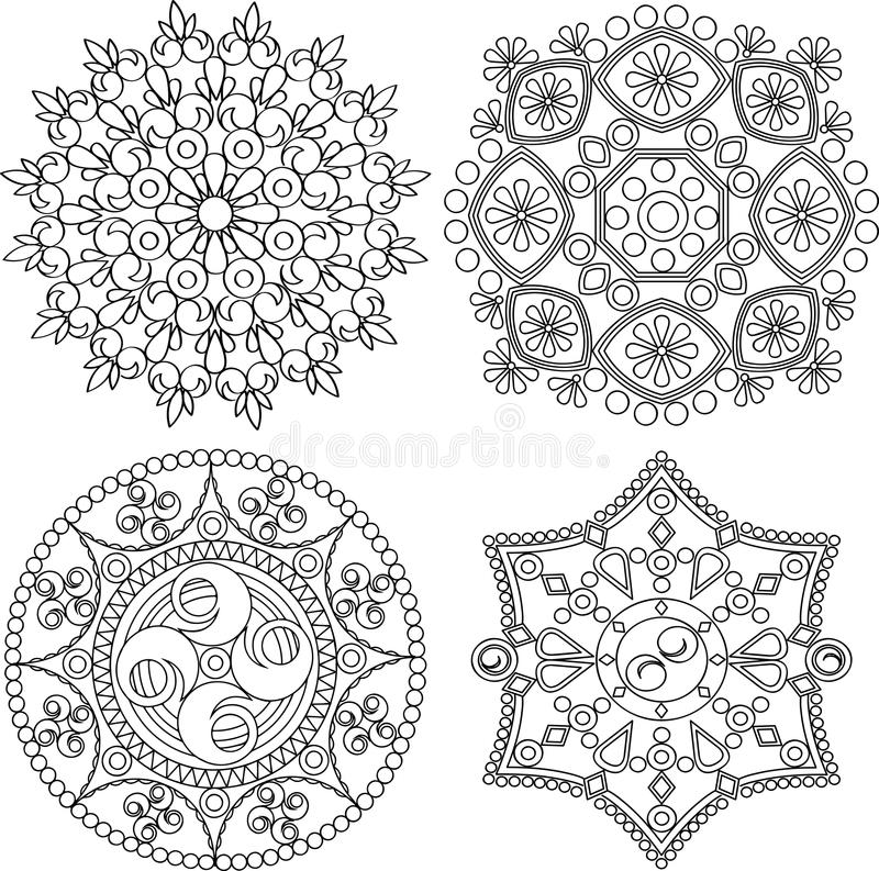 Cirkelornamentreeks Rond Patroon Mandala vector illustratie