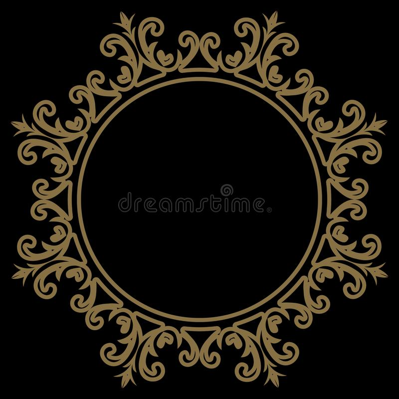 Cirkelpatroon in arabesquestijl mandala Rond bloemenframe royalty-vrije illustratie