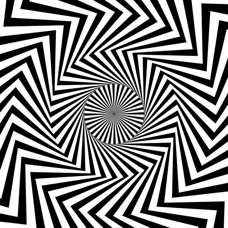 Cirkelpatroon die van radiaal, lijnen uitstralen Zwart-wit starburs stock illustratie