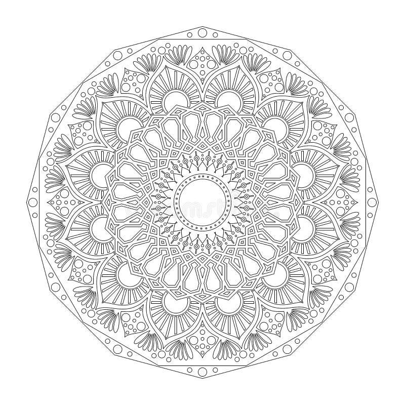 Cirkelpatroon in vorm van mandala Hindoes, Boedha, Henna, Mehndi, tatoegering, decoratie, Islam, Arabisch, Indiër, Turks, Pakista royalty-vrije illustratie
