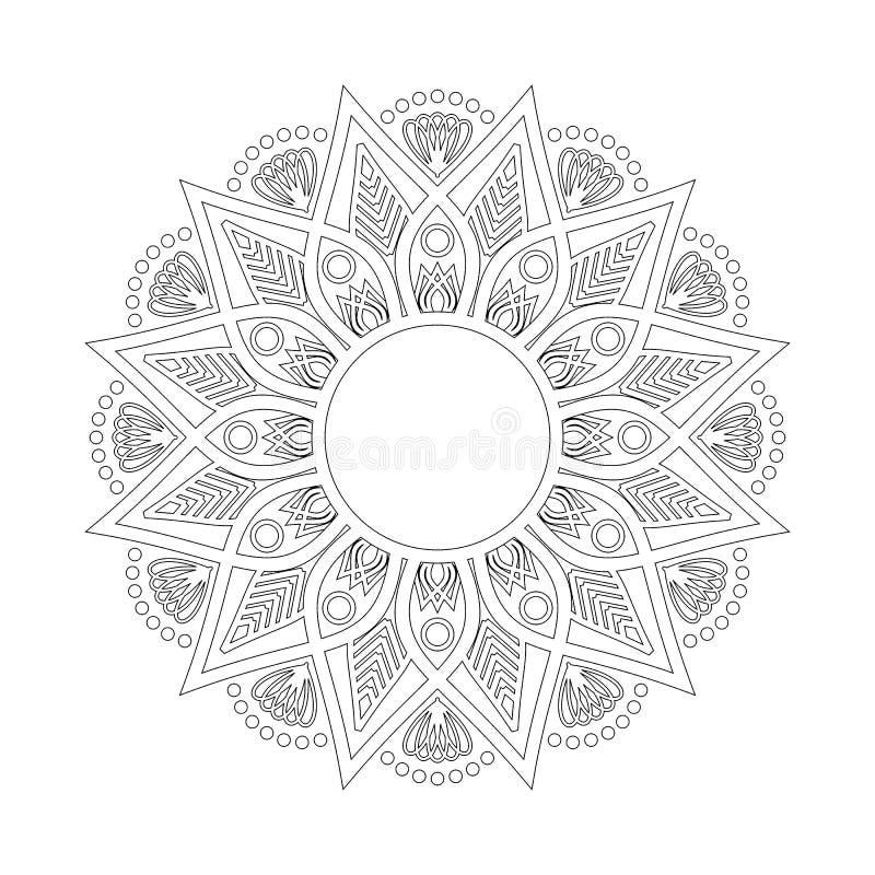 Cirkelpatroon in vorm van mandala Hindoes, Boedha, Henna, Mehndi, tatoegering, decoratie, Islam, Arabisch, Indiër, Turks, Pakista stock illustratie