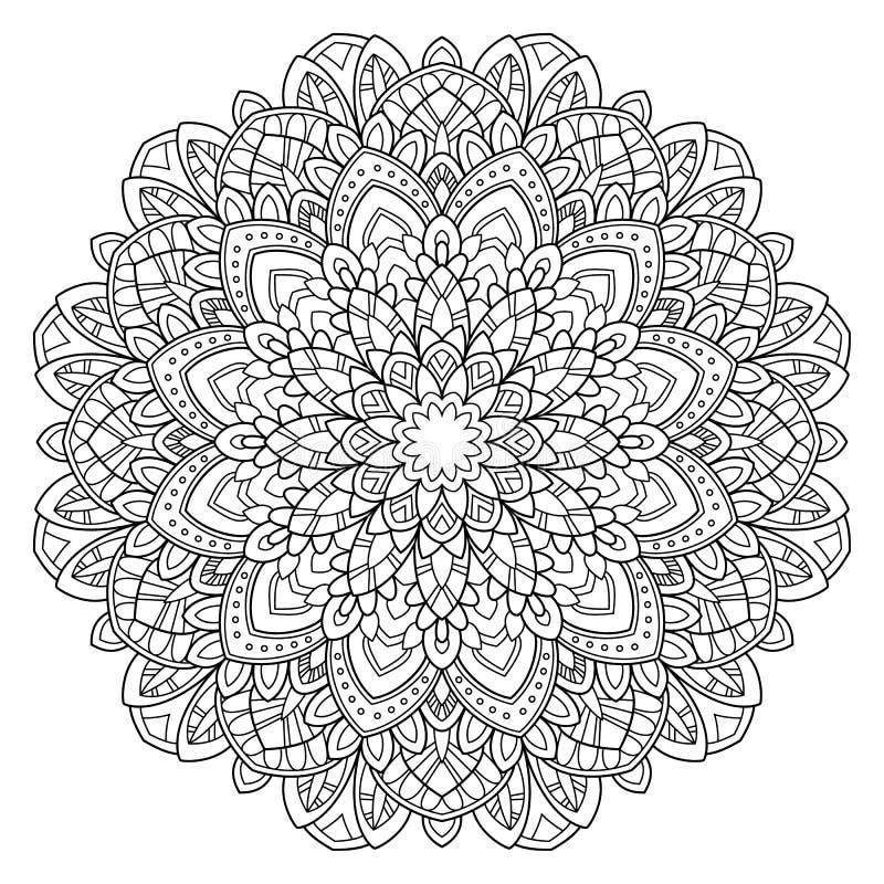 Cirkelpatroon in vorm van mandala voor Henna, Mehndi, tatoegering, decoratie Decoratief ornament in etnische oosterse stijl royalty-vrije illustratie