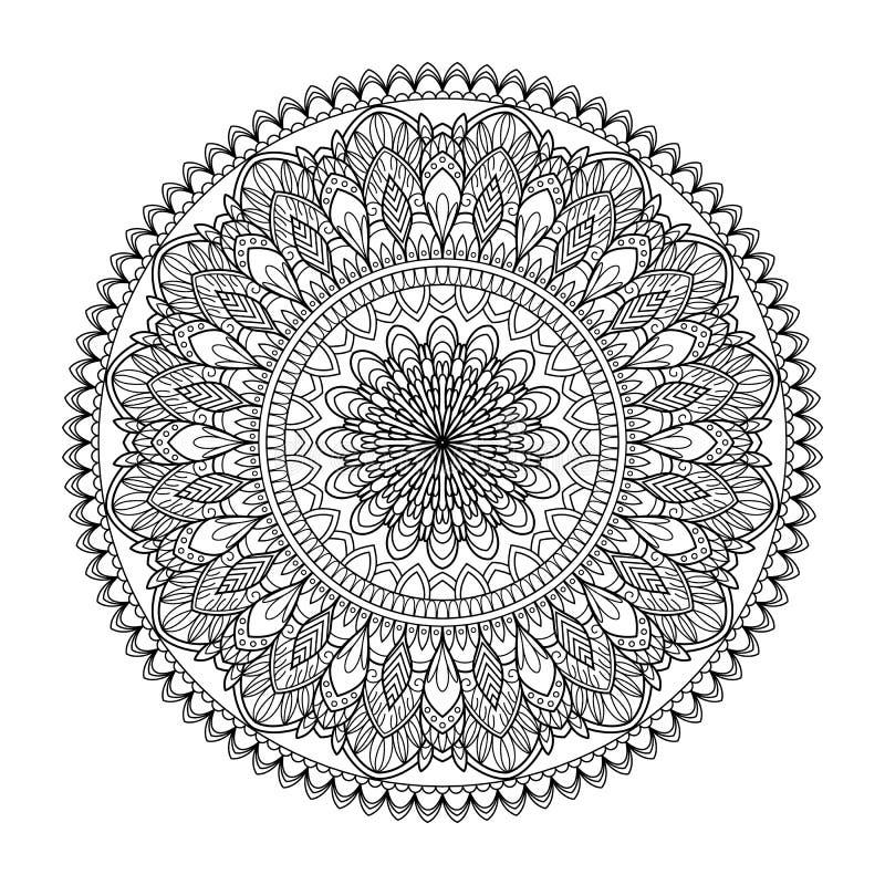 Cirkelpatroon in vorm van mandala voor Henna, Mehndi, tatoegering, decoratie Decoratief ornament in etnische oosterse stijl vector illustratie