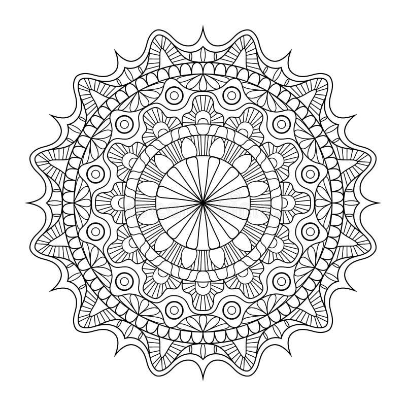 Cirkelpatroon in vorm van mandala voor Henna, Mehndi, tatoegering, decoratie Decoratief ornament in etnische oosterse stijl stock illustratie