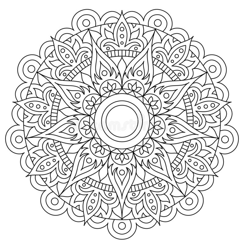 Cirkelpatroon in vorm van mandala voor Henna, Mehndi, tatoegering, decoratie Decoratief ornament in etnische oosterse stijl Bloem vector illustratie