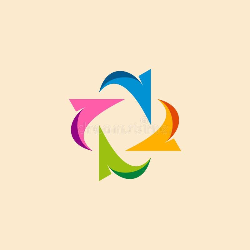 Cirkelpijl gekleurd bedrijfsembleem royalty-vrije illustratie