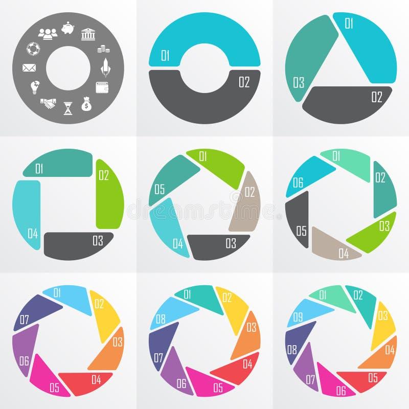 Cirkelpijlen voor infographic stock illustratie