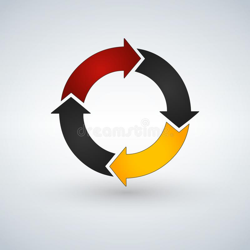 Cirkelpijlen voor infographics Grafiek, grafiek, diagram met 4 stappen, opties, delen Vector bedrijfsmalplaatje vector illustratie