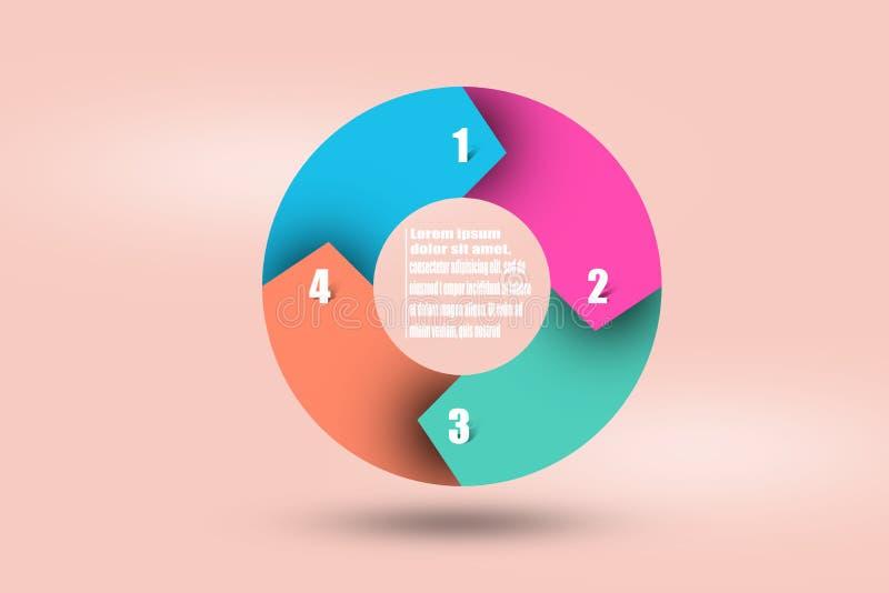 Cirkelpilinfographics Mall för diagrammet, graf, gåva arkivfoton