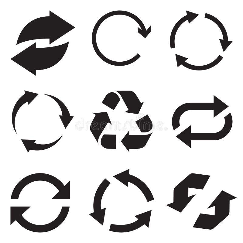 Cirkelpilsymbol Förnya och lägg tillbaka pilsymbolen Uppsättning för rotationsvektorpilar Vektor Illustartion stock illustrationer