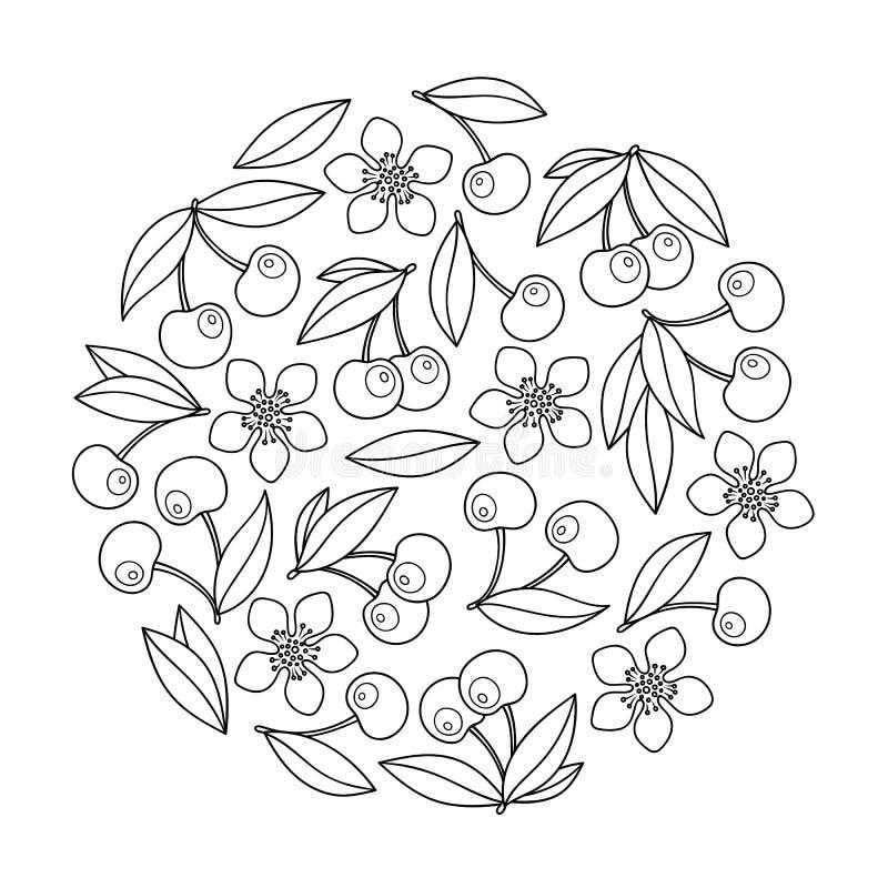 Cirkelprydnad med artistically körsbär i vektor vektor illustrationer