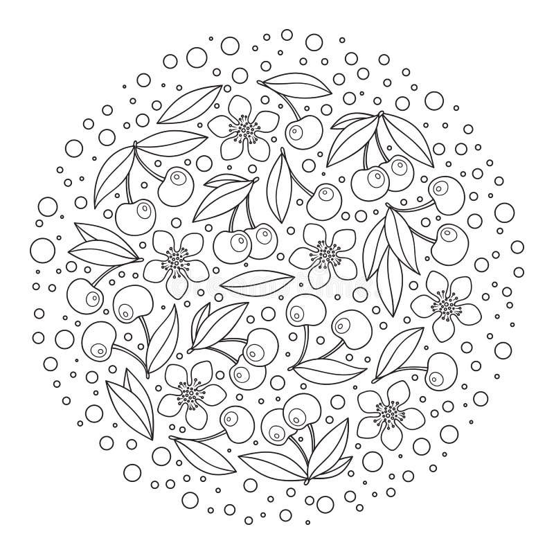 Cirkelprydnad med artistically körsbär i vektor stock illustrationer