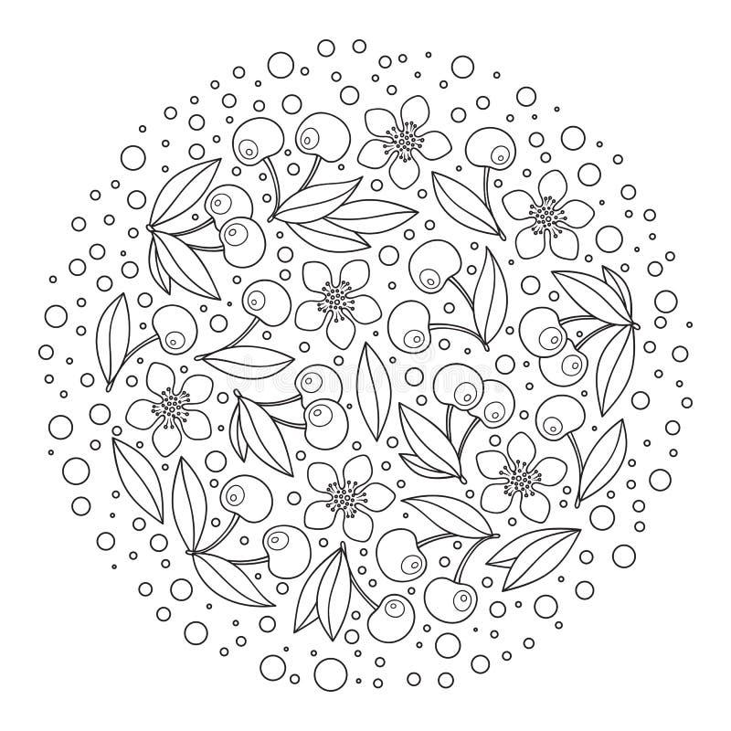 Cirkelprydnad med artistically körsbär i vektor royaltyfri illustrationer