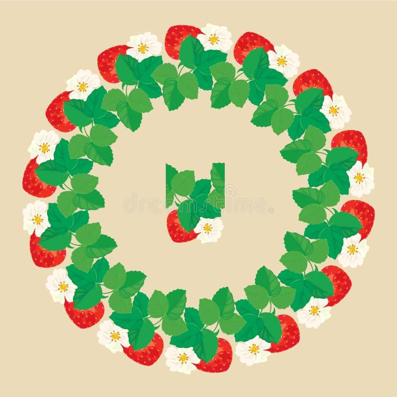 Cirkelprydnaden med jordgubbar i hjärta formar med blommor stock illustrationer