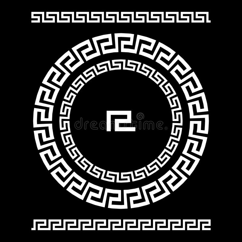 Cirkelprydnadslingringar Rund ram, rosett av forntida beståndsdelar Grekisk nationell antikvitetrundamodell, vektor Rektangulär p vektor illustrationer