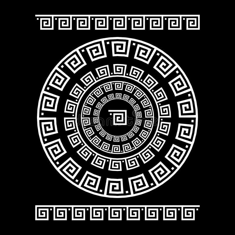 Cirkelprydnadslingringar Rund ram, rosett av forntida beståndsdelar Grekisk nationell antikvitetrundamodell, vektor Rektangulär p stock illustrationer